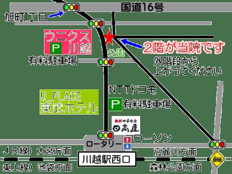 埼玉県川越市の頭痛専門マッサージ整体院「いぶきカイロプラクティック」の場所